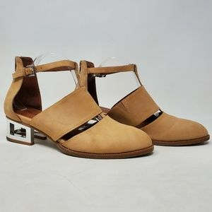 Jeffrey Campbell Carina T-Strap Ankle Booties Tan